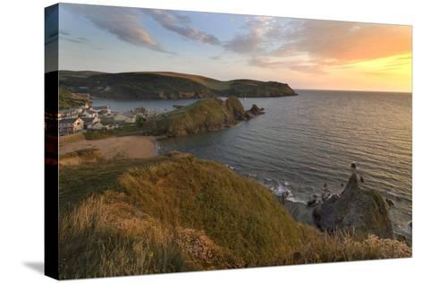 Hope Cove Devon coast at sunset-Charles Bowman-Stretched Canvas Print