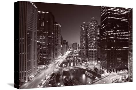 Chicago River Bend, Black & White-Steve Gadomski-Stretched Canvas Print