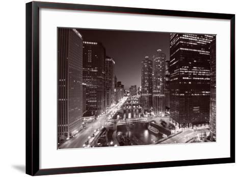 Chicago River Bend, Black & White-Steve Gadomski-Framed Art Print