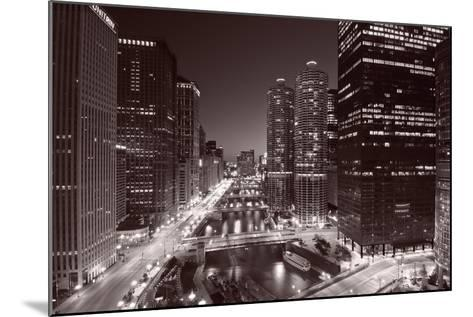 Chicago River Bend, Black & White-Steve Gadomski-Mounted Photographic Print
