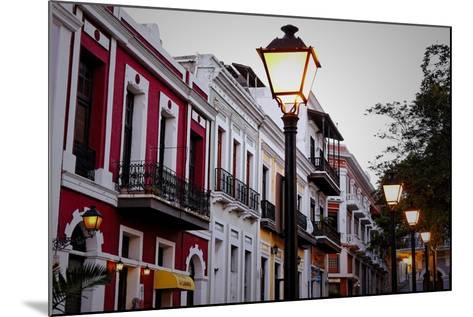 Street Lamps And Facades, Old San Juan, Pr-George Oze-Mounted Photographic Print