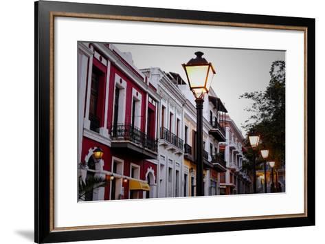 Street Lamps And Facades, Old San Juan, Pr-George Oze-Framed Art Print