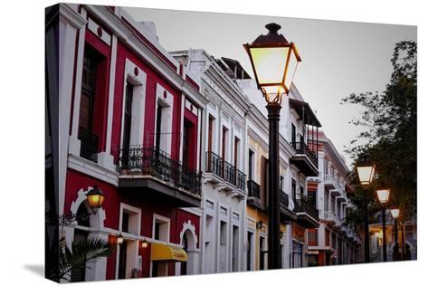 Street Lamps And Facades, Old San Juan, Pr-George Oze-Stretched Canvas Print