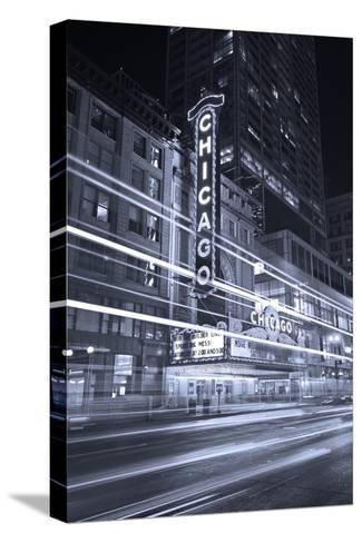 Chicago Theater Marquee In Black & White-Steve Gadomski-Stretched Canvas Print