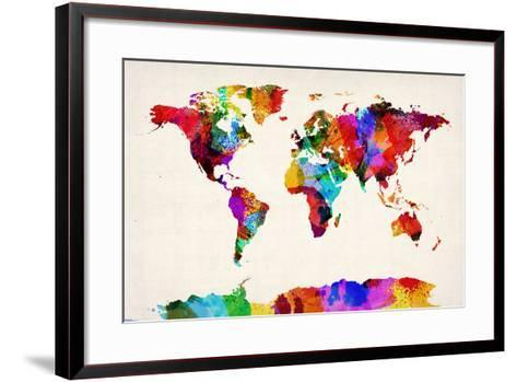 Map of the World Map Abstract Painting-Michael Tompsett-Framed Art Print