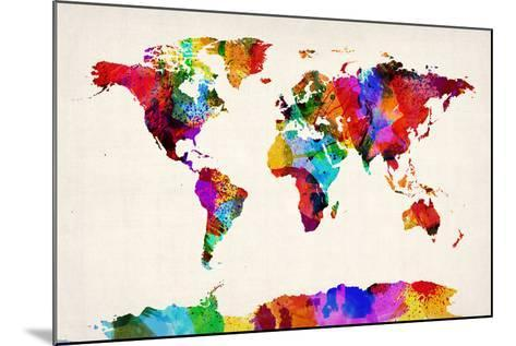 Map of the World Map Abstract Painting-Michael Tompsett-Mounted Art Print