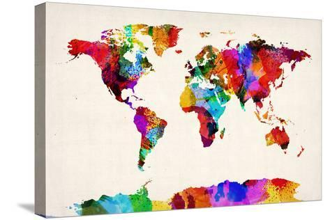 Map of the World Map Abstract Painting-Michael Tompsett-Stretched Canvas Print