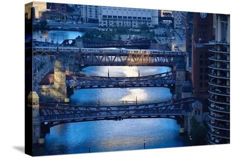 Chicago River First Light-Steve Gadomski-Stretched Canvas Print