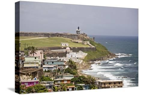 Crashing Waves At El Morro Fort, Old San Juan-George Oze-Stretched Canvas Print