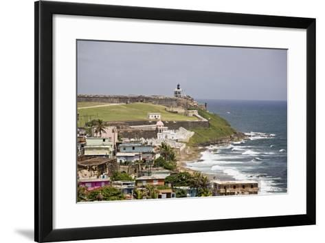 Crashing Waves At El Morro Fort, Old San Juan-George Oze-Framed Art Print