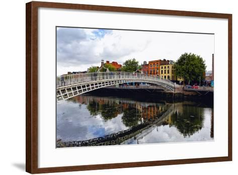 Halfpenny Bridge Over the Liffy River-George Oze-Framed Art Print
