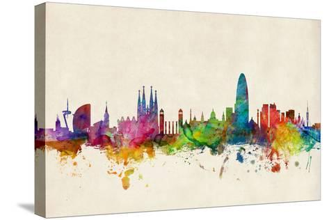 Barcelona Spain Skyline Cityscape-Michael Tompsett-Stretched Canvas Print