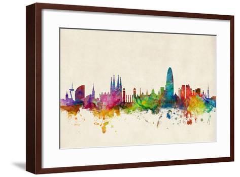Barcelona Spain Skyline Cityscape-Michael Tompsett-Framed Art Print
