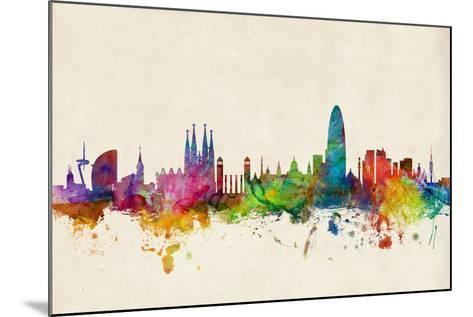 Barcelona Spain Skyline Cityscape-Michael Tompsett-Mounted Art Print