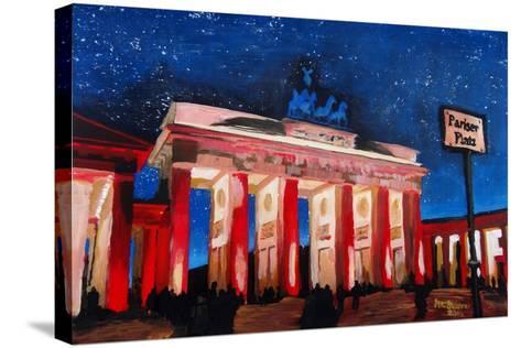Berlin Brandenburg Gate with Paris Place-Martina Bleichner-Stretched Canvas Print