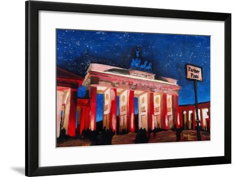 Berlin Brandenburg Gate with Paris Place-Martina Bleichner-Framed Art Print