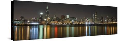Chicago Skyline Colorful Reflection-Patrick Warneka-Stretched Canvas Print
