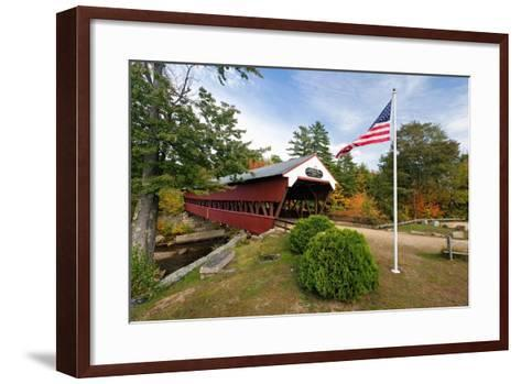 Covered Bridge Over The Swift River, Nh-George Oze-Framed Art Print