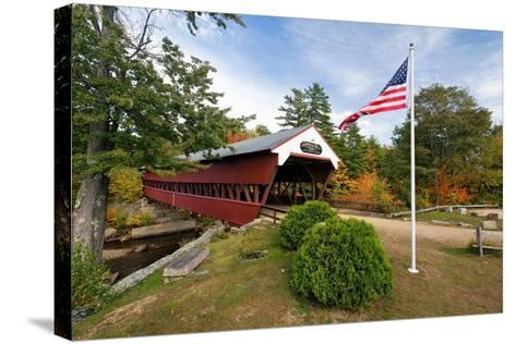 Covered Bridge Over The Swift River, Nh-George Oze-Stretched Canvas Print