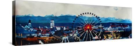 Munich Oktoberfest Panorama with Alps and Giant Wheel-Markus Bleichner-Stretched Canvas Print