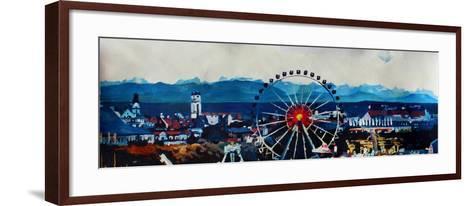 Munich Oktoberfest Panorama with Alps and Giant Wheel-Markus Bleichner-Framed Art Print