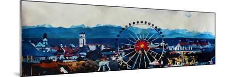 Munich Oktoberfest Panorama with Alps and Giant Wheel-Markus Bleichner-Mounted Art Print