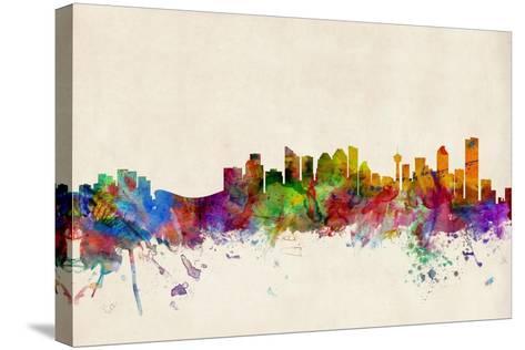 Calgary Canada Skyline-Michael Tompsett-Stretched Canvas Print