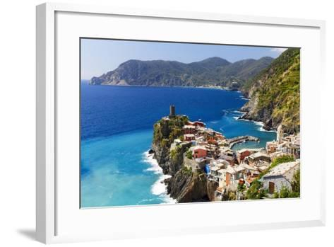 Coastal Town On A Cliff, Vernazza, Italy-George Oze-Framed Art Print