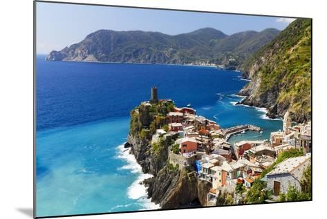 Coastal Town On A Cliff, Vernazza, Italy-George Oze-Mounted Photographic Print