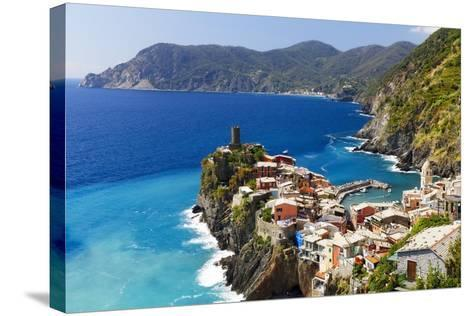 Coastal Town On A Cliff, Vernazza, Italy-George Oze-Stretched Canvas Print