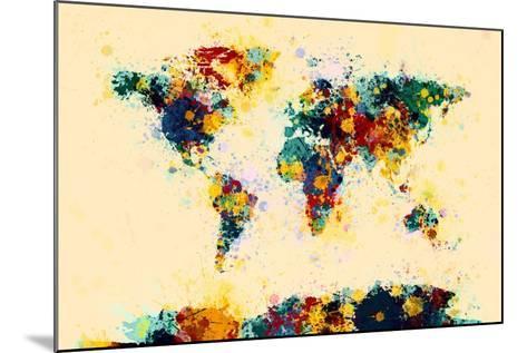 World Map Paint Splashes-Michael Tompsett-Mounted Art Print