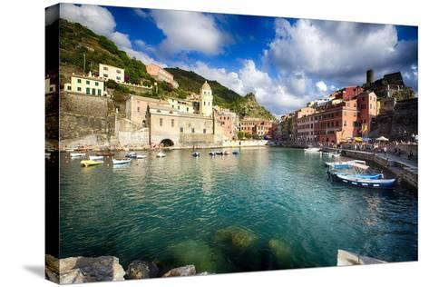 Vernazza Harbor View, Cinque Terre, Italy-George Oze-Stretched Canvas Print