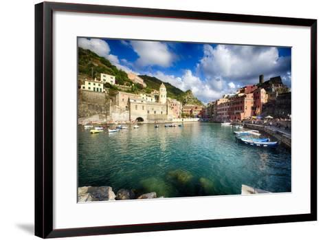 Vernazza Harbor View, Cinque Terre, Italy-George Oze-Framed Art Print