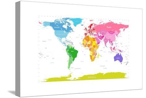 Continents World Map-Michael Tompsett-Stretched Canvas Print