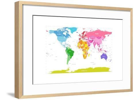 Continents World Map-Michael Tompsett-Framed Art Print