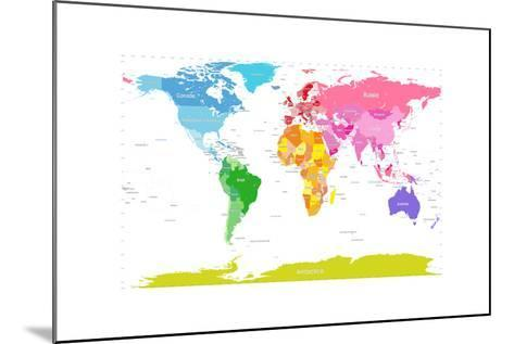 Continents World Map-Michael Tompsett-Mounted Art Print