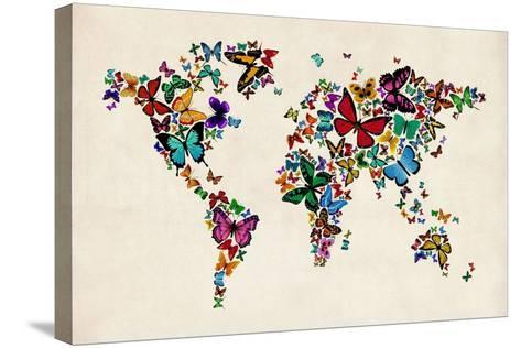 Butterflies Map of the World-Michael Tompsett-Stretched Canvas Print