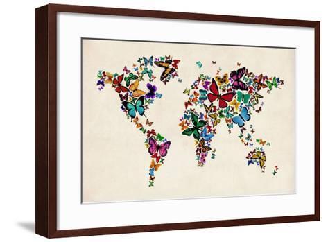 Butterflies Map of the World-Michael Tompsett-Framed Art Print