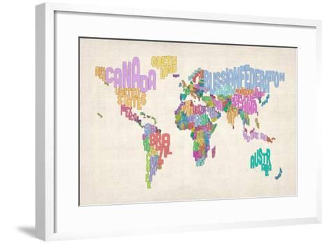 Text Map of the World Map-Michael Tompsett-Framed Art Print