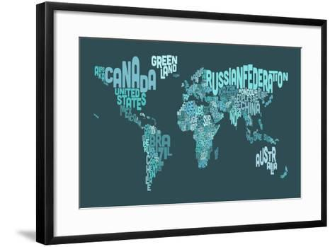 Text Map of the World Map-Michael Tompsett-Framed Art Print
