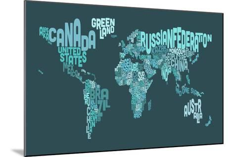 Text Map of the World Map-Michael Tompsett-Mounted Art Print