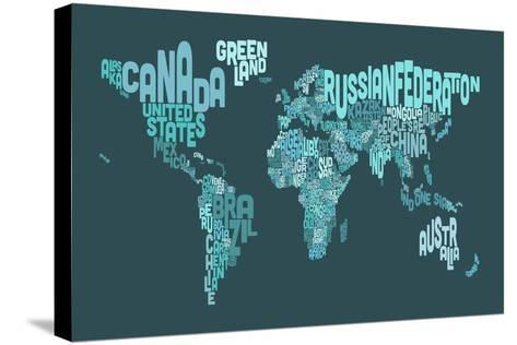 Text Map of the World Map-Michael Tompsett-Stretched Canvas Print