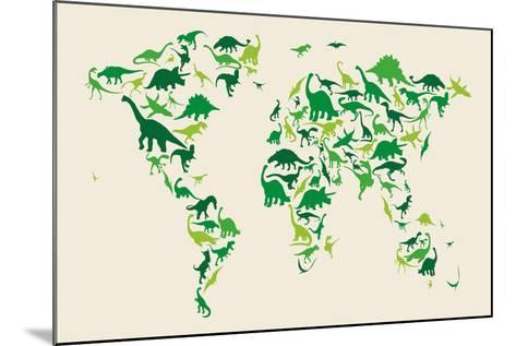 Dinosaur Map of the World Map-Michael Tompsett-Mounted Art Print