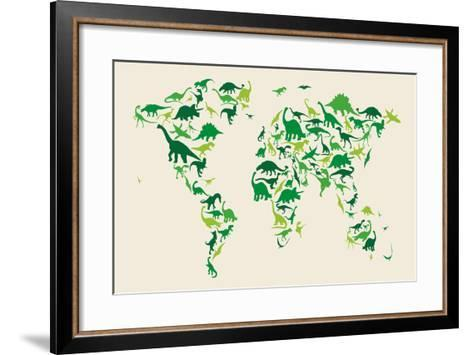 Dinosaur Map of the World Map-Michael Tompsett-Framed Art Print
