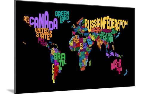 Text Map of the World Map-Michael Tompsett-Mounted Art Print