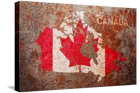 Canada Flag map-Michael Tompsett-Stretched Canvas Print