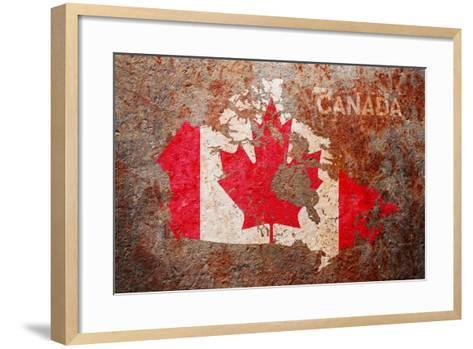 Canada Flag map-Michael Tompsett-Framed Art Print