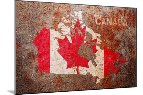 Canada Flag map-Michael Tompsett-Mounted Art Print