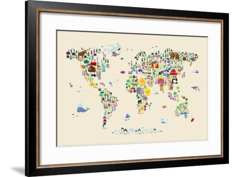 Animal Map of the World for children and kids-Michael Tompsett-Framed Art Print