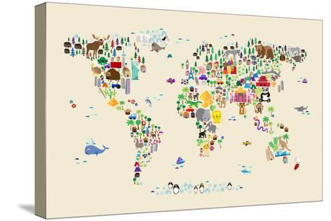 Animal Map of the World for children and kids-Michael Tompsett-Stretched Canvas Print